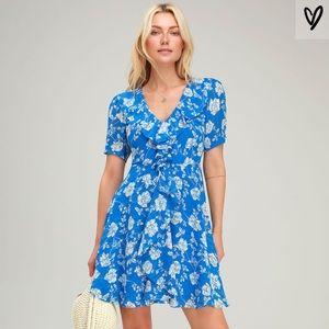 Ximena Blue Floral Ruffled Short Sleeve Mini Dress